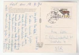 1971  CZECHOSLOVAKIA COVER Stamps 2k DEER  (postcard Cheb) - Czechoslovakia