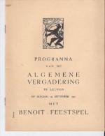 Benoit Feestspel 1951 - Prog V D Algemene Vergadering - Programmi