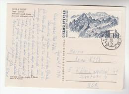 1971  CZECHOSLOVAKIA COVER Stamps 60h TARTA MOUUNTAINS  Mountain  (postcard Cheb, Map) - Czechoslovakia