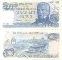BANCO CENTRAL DE LA REPUBLICA ARGENTINA - CINCO MIL  PESOS LEY 18188 BILLETE TBE NUEVO SIN USO NOTE - Argentina