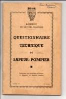 Sapeurs Pompiers / Questionnaire Technique Du Sapeur Pompier....1953 / Régiment S P Paris - Firemen