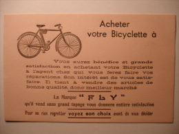 """BUVARD ANCIEN - ACHETER VOTRE BICYCLETTE A LA MARQUE """"FLY"""" - Vélo Bicycle Deux Roues Bike - Transport"""
