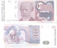 BILLETE BILLET BANCO CENTRAL DE LA REPUBLICA ARGENTINA 1000 MIL  AUSTRALES JULIO ARGENTINO ROCA TBE - Argentina