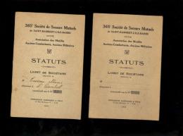 X2 Livret De Sociétaire 365e Société De Secours Mutuels Saint St Rambert L'Ile Barbe Association Des Ancien Combattants - Documents Historiques