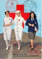 CARTOLINA PROMOZIONALE DELLA CROCE ROSSA ITALIANA CON BELLE CROCEROSSINE. ANNULLI DI FILATELIE DI CROCE ROSSA. ANNI '80 - Croix-Rouge