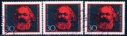 A10-43-1) BRD - 3x Michel 558 - OO Gestempelt (A) - Karl Marx - [7] West-Duitsland