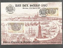 DIA DEL SELLO BARCELONA 1980 ASAMBLEA NACIONAL FILATELIA CORREO A CABALLO FNMT - Fogli Ricordo