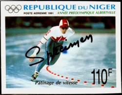 SPORTS-WINTER SPORTS-SPEED SKATING-SPECIMEN-OLYMPIC YEAR-PRE ALBERTVILLE-IMPERF-NIGER-110F-MNH-B3-946