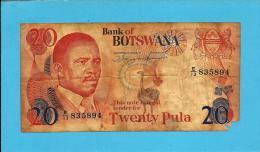 BOTSWANA - 20 Pula - ND ( 1982 ) - Pick 10.d - Sign. 6.a - Prefix E/13 - 2 Scans - Botswana