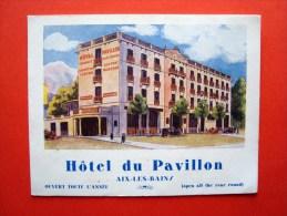 Dépliant Publicitaire, Hôtel Du Pavillon, Aix Les Bains, 13,5 X 10,5 Cm. 4 Pages, Années 1920 Environ - Publicités