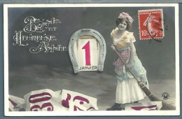 CPA  - JEUNE FEMME -  BONNE ANNEE - Femmes