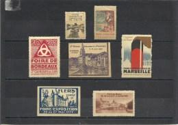 7 Vignettes FOIRE EXPOSITION Melun-Nice-Bordeaux-Saint Girons-Flers 1934-Meaux-Marseille - Erinnophilie