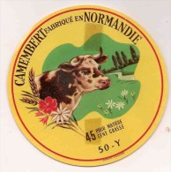 ETIQUETTE DE FROMAGE  Camembert  Fabrique En Normandie - Cheese