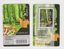 2011 - ITALIA -  TESSERA FILATELICA  EUROPA 2011 DEDICATO A LE FORESTE - Filatelistische Kaarten