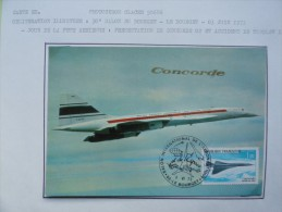 CARTE MAXIMUM CARD CONCORDE 3 JUIN 1973 OSI LE BOURGET - Concorde