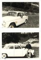 2 Photos Homme Et Sa Voiture, Simca Aronde - Automobiles