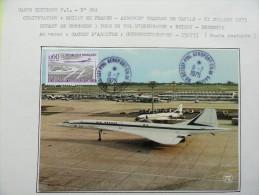 CARTE MAXIMUM CARD CONCORDE OBLITERATION ORDINAIRE 11 JUILLET 1975 ROISSY DEPART DU CONCORDE 3 POUR UN VOL D'ENDURANCE - Concorde