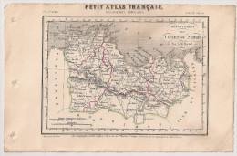 Carte Département Des Côtes Du Nord De 1841 Par Perrot. Petit Atlas Français. Géographie Langlois. St Brieuc Dinan - Geographical Maps