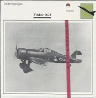 Vliegtuigen.- Fokker D-21 - Jachtvliegtuigen. -  Nederland - Vliegtuigen