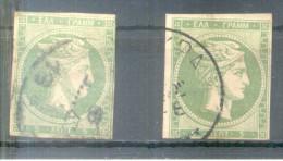 TETE DE MERCURE AÑO 1861 YVERT NR. 3 OBLITERE TWO PIECES 2 PIEZAS - 1861-86 Large Hermes Heads