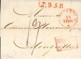 1834 - Lettre Avec Correspondance D´Amsterdam -  LP.B.5.R Rouge + Hollande Par Thionville - Pour Montpellier (France) - Pays-Bas