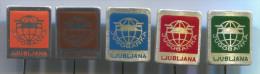 BANK BANQUE BANCA - JUGOBANKA LJUBLJANA, Slovenia, Vintage Pin, Badge, Lot 5 Pieces - Banken