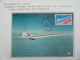 CARTE MAXIMUM CARD CONCORDE OSI  24 ET 25 AVRIL 1976 AMIENS - Concorde