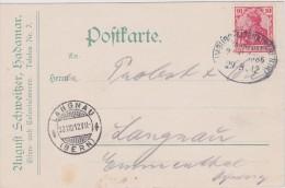 ALLEMAGNE   1912 CARTE DE HADAMAR CACHET FERROVIAIRE HAMBURG-ALTENKIRCHEN - Allemagne