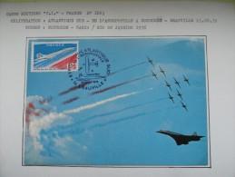 CARTE MAXIMUM CARD CONCORDE ET LA PATROUILLE DE FRANCE 22 AOUT 1976 DEAUVILLE - Concorde