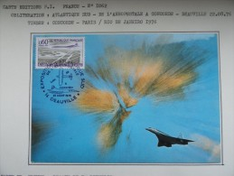 CARTE MAXIMUM CARD CONCORDE ET LE BANG 22 AOUT 1976 DEAUVILLE - Concorde