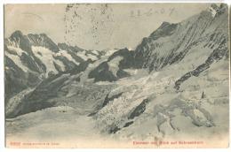 EISMEER Mit Blick Auf Schreckhorn Stempel Station Eismeer Jungfraubahn 1907 Und EISMEER 3153 M U/M - BE Bern