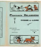 Protege-cahier Pharmacie Delabrière à Cosne Sur Loire - Trois Chiens Et Un Os (couleur Bleu-vert) - Protège-cahiers