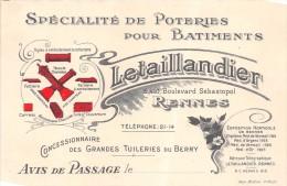 """RENNES   -  Carte-de Visite  - Spécialité De Poterie Pour Batiment """" LETAILLANDIER """" , Boulevard Sébastopol - Visiting Cards"""