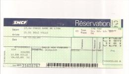 BILLET SNCF - PARIS - DOLE  11/02/1985 - Chemins De Fer
