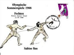 Korea, South Cover Scott #B28 Fencing Medal Winner Sabine Bau - Summer Olympics 1988 Seoul - Ete 1988: Séoul
