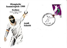 Korea, South Cover Scott #B28 Fencing Medal Winner Arndt Schmitt - Summer Olympics 1988 Seoul - Zomer 1988: Seoel