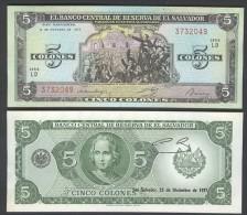 EL SALVADOR  : 5 Colones - 1977 - P126 - UNC - El Salvador