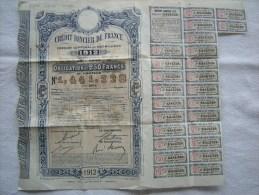 Crédit Foncier De France, Emprunt Communal De 500 Millions, Année 1912, Obligation Au Porteur - Banque & Assurance