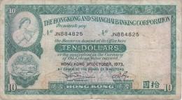 BILLETE DE HONG KONG DE 10 DOLLARS DEL AÑO 1973 (BANKNOTE) - Hong Kong