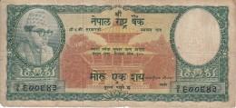 BILLETE DE NEPAL DE 100 RUPIAS DEL AÑO 1961 (BANKNOTE) RINOCERONTE-RHINO - Nepal