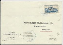 LIBAN - 1950 - ENVELOPPE De CHEKKA Avec RARE OBLITERATION De CHEKKA USINE BLEUE Pour BEYROUTH - Liban