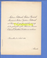 FAIRE PART MARIAGE 1886 JOTTRAND BERNARD GUSTAVE JOTTRAND EDMOND DESTREE DOCTEUR BRUXELLES - Mariage