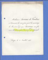 FAIRE PART MARIAGE 1888 ANCIAUX DE FAUDEUR GEORGES JENNY DUPONT LIEGE - Mariage