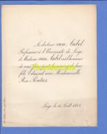 FAIRE PART MARIAGE 1888 DOCTEUR VAN AUBEL PROFESSEUR A L'UNIVERSITE DE LIEGE EDMOND ROSE PONTUS LIEGE - Mariage