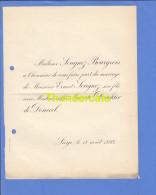 FAIRE PART MARIAGE 1892 SOUGNEZ BOURGEOIS ERNEST MARIETTE DONCKIER DE DONCEEL LIEGE - Mariage