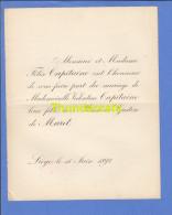 FAIRE PART MARIAGE 1892 FELIX CAPITAINE VALENTINE GASTON DE MARET LIEGE - Mariage
