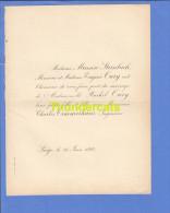 FAIRE PART MARIAGE 1892 MASSON STEINBACH EUGENE OURY RACHEL CHARLES TIMMERHANS INGENIEUR LIEGE - Mariage