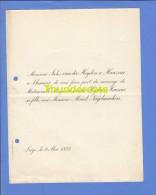 FAIRE PART MARIAGE 1893 JULES VAN DER HEYDEN A HAUZEUR MARGUERITE MARCEL NAGELMACKERS LIEGE - Mariage