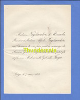 FAIRE PART MARIAGE 1893 NAGELMACKERS DE MIRANDA ALFREDO GASTON GABRIELLE FAYN LIEGE - Mariage