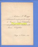 FAIRE PART MARIAGE 1889 HOGGE JOSEPH CHAUDOIR MARIA NOIRFALISE LIEGE - Mariage